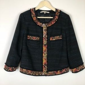 RACHEL ROY TEXTURED FRAY BATIK BLAZER JACKET XL